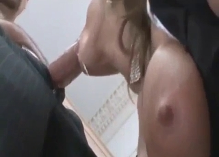 Sensual bitch swallows her brother's fat dick