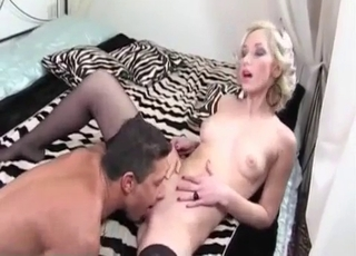 Glamorous blonde swallows her brother's big cock
