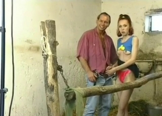 My daughter is sucking my dick in the barn
