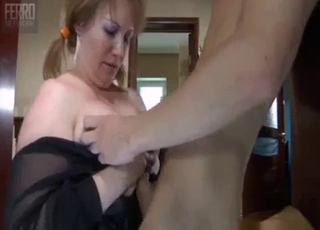 Pigtailed busty sister swallows her brother's dick