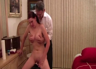Filthy daddy is playing with his stunning daughter