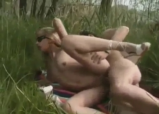 Delicious female bangs outdoors with a stepbrother