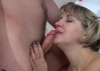 Mom nurse sucks her son's dick with passion