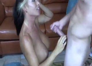 Big-boobed sis likes her younger brother's dick