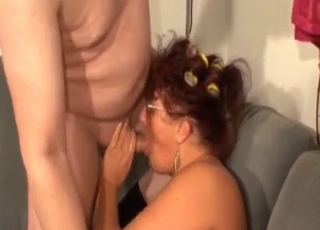 Big-boobed mom sucks her fat son with love