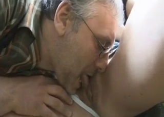 Daddy licks his busty daughter's cunt outdoors