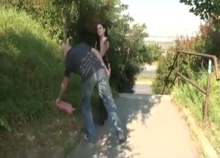 Hot bitch gives her uncle an outdoor blowjob