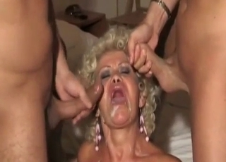 Big-ass mom banged by her own sons