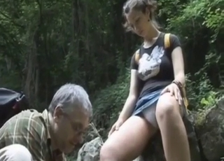 Old man seduces his granddaughter in the forest