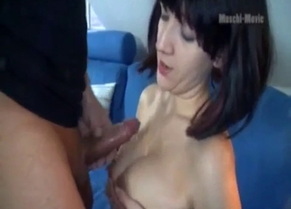 Brother cums on the big boobs of his sister
